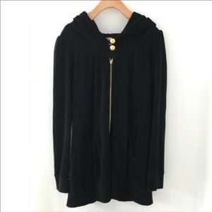 Juicy Couture Large Jacket Long Coat Hoddie Black